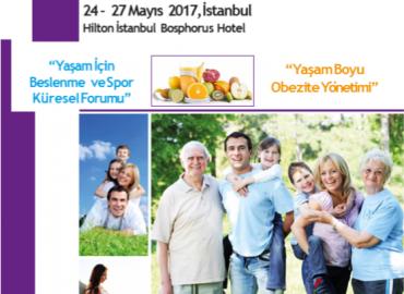 6.Ulusal Sağlıklı Yaşam Sempozyumu, 1.Yaşam İçin Beslenme ve Spor Kongresi 24-27 Mayıs 2017'de Hilton İstanbul Bosphorus Hotel'de .